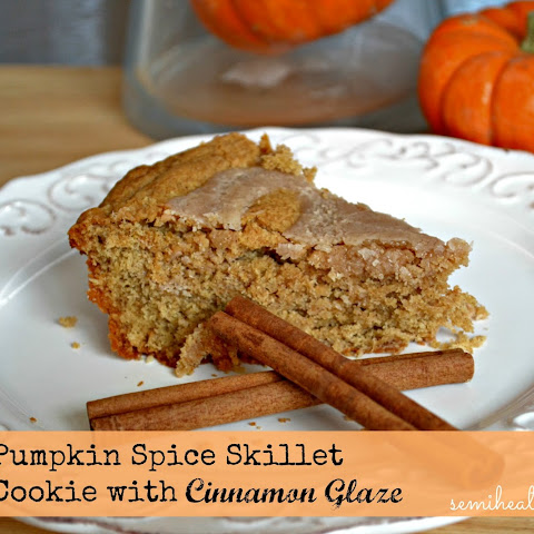 Pumpkin Spice Skillet Cookie with Cinnamon Glaze