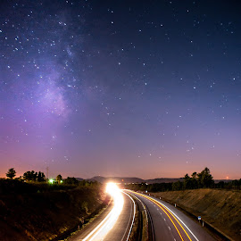 Milky High Way by Sérgio Martins - Landscapes Starscapes ( milkyway, startrail, via lactea, night photography, sarnadas, stars, star photography, star, castelo branco, portugal, freeway, high way, milky way, vialactea,  )