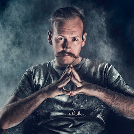 Pow(d)er by Bendik Møller - People Portraits of Men ( black background, model, color, male, mustache, man, portrait )