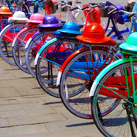 Colorful Hats on Ancient Bicycles by Yanti Hadiwijono - Abstract Patterns