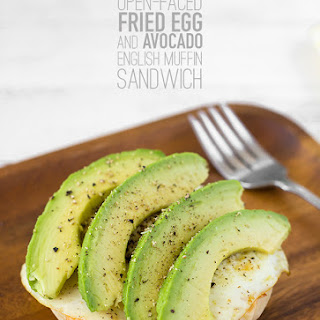 Open-Faced Fried Egg and Avocado English Muffin Sandwich