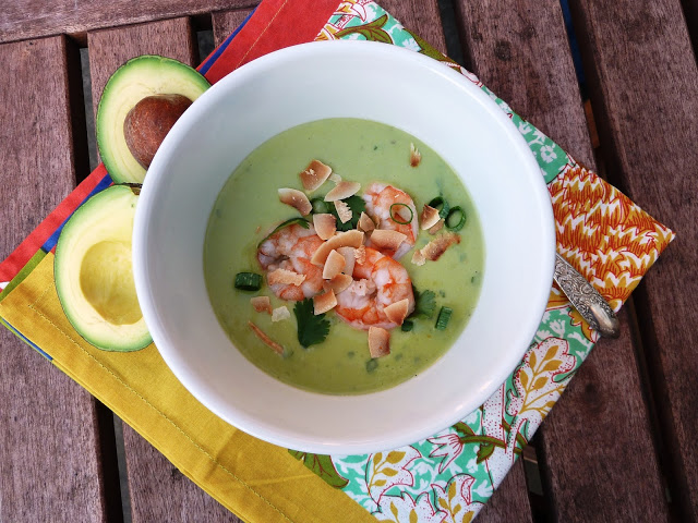 Chilled Thai-Inspired Creamy Avocado Coconut Soup with Poached Shrimp ...