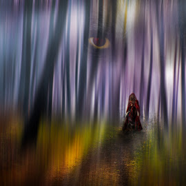 Red Riding Hood by Ivailo Atanasov - Digital Art Places ( story, red, wood, tale, wolf, trees, hood )