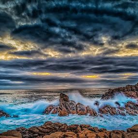 Wave by Greg Tennant - Landscapes Sunsets & Sunrises ( waves, coastline, rocks )