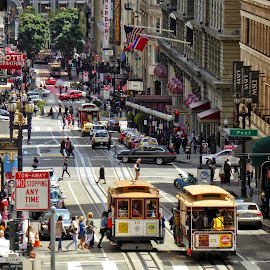 San Francisco street scene by Sandy Scott - City,  Street & Park  Street Scenes ( signs, trolley, california, metropolitan, street, transportation, tracks, street scene, famous places, people, san francisco, west, street photography )