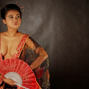 Elegance of Woman with Kimono by Adiie Winata - People Fashion ( potrait, fine art, artistict nude, women )