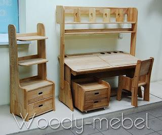 парта двойная с пеналами, надстройкой, стулом, блоком шухляд и стеллажом (комплект)