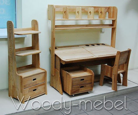 Детская мебель: парта двойная с пеналами, надстройкой, стулом, блоком шухляд и стеллажом (комплект)