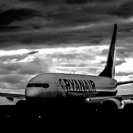Ready to go by Adam Janowski - Transportation Airplanes ( clouds, plane, white, ryanair, pasanger, black )
