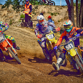 The Three Musketeers by Marco Bertamé - Sports & Fitness Motorsports ( curve, motocross, dust, three, clumps, number, hard, race, fighted, close, competition )