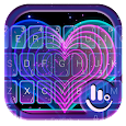 Live Neon Color Heart Keyboard Theme