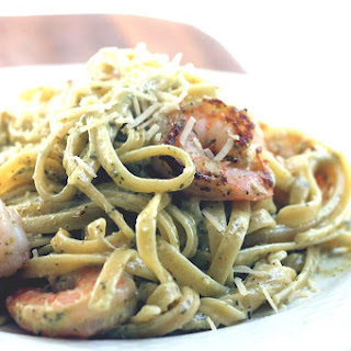 Shrimp with Pesto Alfredo Fettuccine