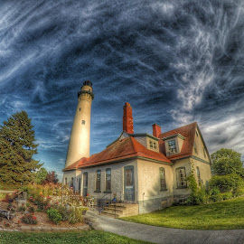 Windpoint Lighthouse by David Konieczko - Buildings & Architecture Other Exteriors ( clouds, wisconsin, sky, hdr, lighthouse )