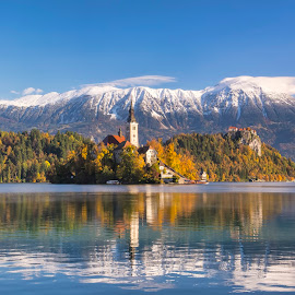 Bled island by Stane Gortnar - Landscapes Mountains & Hills ( hills, mountains, snow, slovenia, bled, lake, historical, island )