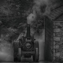 Going up Camborne hill by Nigel Clackworthy - Transportation Roads ( traction engine, hdr, vintage, black and white, steam )