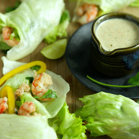 Shrimp and Avocado Lettuce Wraps with Almond Satay Sauce