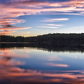 Ashley Reservoir by Jason Weagle - Landscapes Cloud Formations ( water, clouds, reflection, sky, hdr, ship, fall, lake, still, boat )