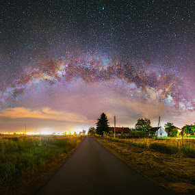 The Passage by Srdjan Vujmilovic - Landscapes Starscapes ( astrography, milkyway, astro, village, passage, stars, street, path, house, billage, photo, photography )