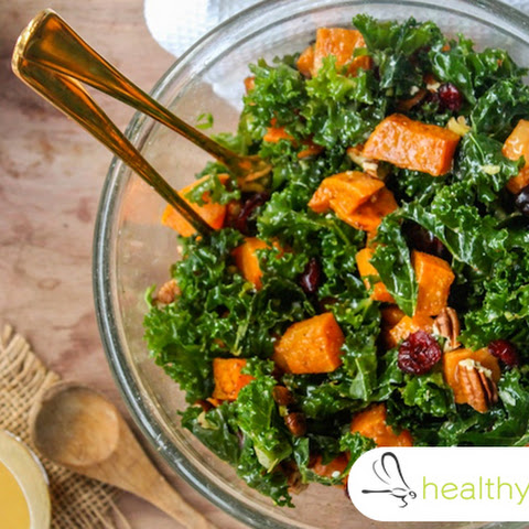 Roasted Sweet Potato Salad With Kale, Apple Cider Vinegar and Pecans…YUM!