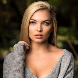 Melissa by Michal Challa Viljoen - People Portraits of Women ( blonde, headshot, nature, female, blue eyes, grey, wool, bokeh, portrait, eyes )