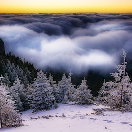 Sunrise above the clouds by Laurentiu Soare - Landscapes Sunsets & Sunrises