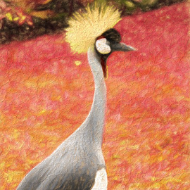 Painted Crane by Anthony Rutter - Digital Art Animals