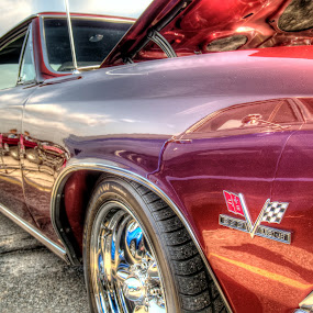 Red Corvette by David Shayani - Transportation Automobiles ( car, clouds, rubber, reflection, corvette, auto show, wheels, windows, blue sky, red, tires, high dynamic range photography, car show, hood, shiny )