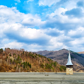 grey lake by Chiorean Marius - Landscapes Cloud Formations ( clouds, blue sky, sky, church, blue, forest, lake, grey, spring )