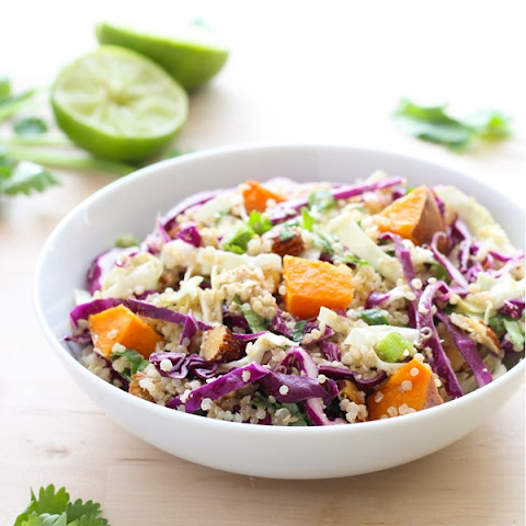 Crunchy Quinoa Power Bowl with Almond Ginger Dressing