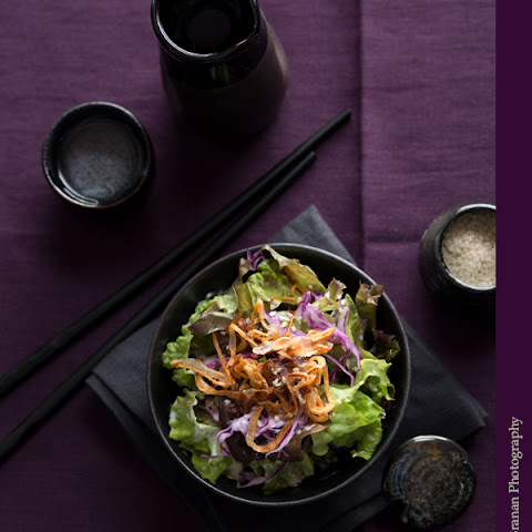 Salad with Sesame Ginger Dressing and Crispy Fried Shallots