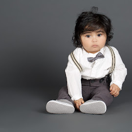 Suit Up  by James Perkins - Babies & Children Babies ( studio, bow tie, jigsaw, grey, portrait, kid, shirt )