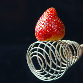 Strawberry & Mixer by Jim Downey - Food & Drink Fruits & Vegetables ( metal, mixer, masher, strawberry, black )