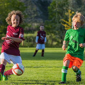Running for the Ball by Garry Dosa - Sports & Fitness Soccer/Association football ( teams, ball, boys, action, sports, children, game, running, soccer )