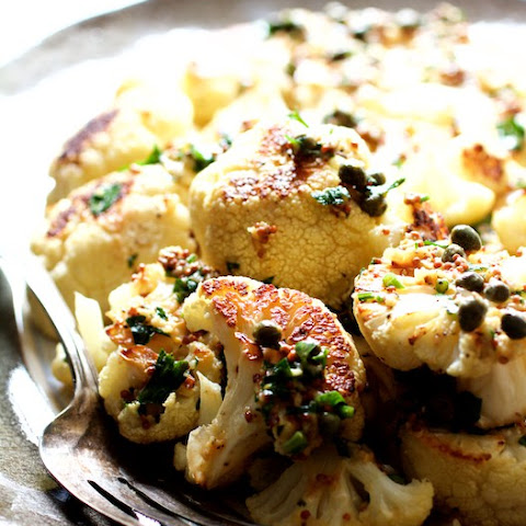 Roasted Cauliflower with Mustard Caper Brown Butter