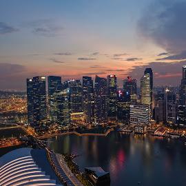 Dawn at Singapore by Alexandre Ribeiro Dos Santos - City,  Street & Park  Skylines ( skyline, dawn, towers, purple, bay, skyscrapers, sunset, marina bay, singapore,  )
