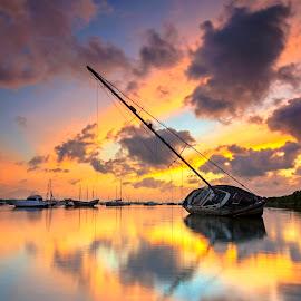 Broken boat by Kori Wardhana - Landscapes Sunsets & Sunrises