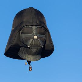 Dark Vader Air Balloon by Eva Lee - Transportation Other ( hot air balloon, sky, blue, dark vader, air balloon, star wars, hot, transportation, hot air balloons, race, black )