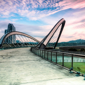 Sunrise @ Putrajaya by Zack Zaidi - Buildings & Architecture Bridges & Suspended Structures ( hdr, sports comples, putrajaya, dam, malaysia, bridge, sunrise )