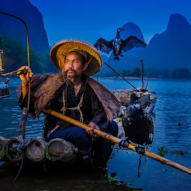 Blackbeard in the Blue Hour by David Long - People Portraits of Men ( cormorant, blue hour, blacbeard )