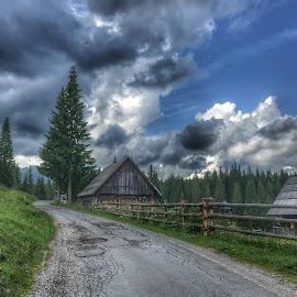 by Mario Horvat - Instagram & Mobile iPhone ( pokljuka, cloudy, slovenia, street, sunset, clouds, village )