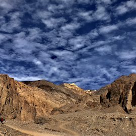 The Natural Bridge Trail by Nipanjana Patra - Landscapes Deserts ( death valley, mountain, blue, deserts, skyscape )