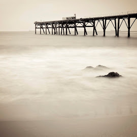 Spooky Beach by Kimberly Starr - Landscapes Beaches ( water, sepia, fog, spooky, beach, rocks )