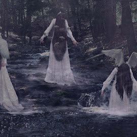 The River Sirens by Carrie Lopez - Digital Art People ( water, whimsical, clearing, fine art, wooded, enchanting, folklore, girl, nature, fog, painterly, magical, woman, timeless, dark, enchanted, gown, woodland, surreal, conceptual, misty, mist, river )