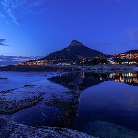 Tidal Pool at night by Trevarri Rademeyer - Landscapes Beaches