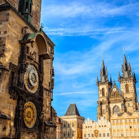 Prague Old Town Square by Valliappan Chellappan - City,  Street & Park  Historic Districts ( history, astronomical clock, antique, prague, bohemian )