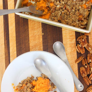 Sweet Potato Casserole with Candied Pecan Topping