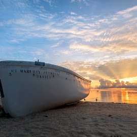 Alongside the Sunlight by Geoffrey Wols - Transportation Boats ( tropical, sand, sunrise, bantayan island, philippines, water, boat,  )