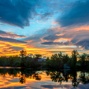 Another crappy Boulder sunset by Steve Outing - Landscapes Sunsets & Sunrises ( clouds, water reflection, reflection, sky, nature, walden ponds, sunset, colorado, lake, scenic, boulder, dusk, natural beauty,  )