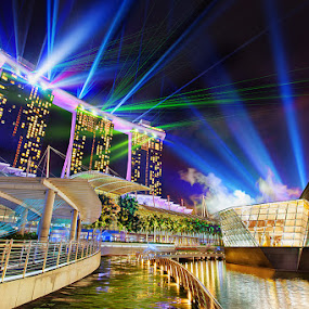 Laser Wars by Jonathan Danker - Buildings & Architecture Other Exteriors ( singapore marina bay sands light show architecture laser wars wow crazy amazing entertainment attraction )