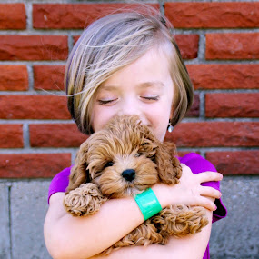 The New Puppy by Amanda  Castleman  - Babies & Children Child Portraits ( love, child, girl, pet, care, happiness, puppy,  )